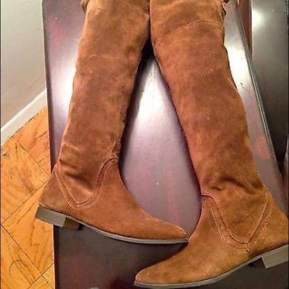 Knee Brown Suede Flat Boots | Poshmark